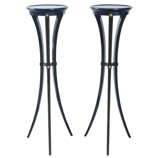 Black Torchere Plant Stands - a Pair For Sale