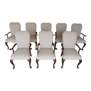 Baker Georgian Style Upholstered Dining Set of 8 Arm Chairs