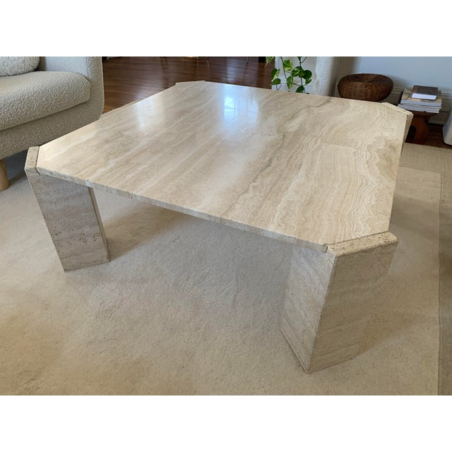Postmodern Postmodern Italian Travertine Coffee Table For Sale - Image 3 of 13