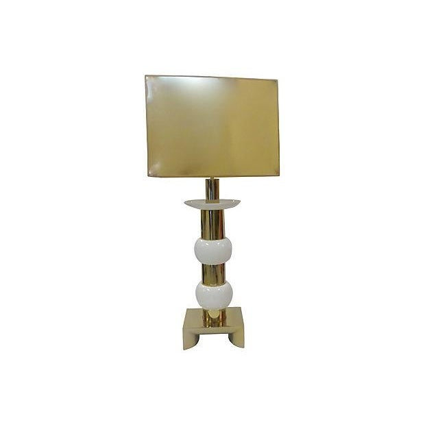 Mid-Century Brass and Ceramic Table Lamp For Sale - Image 5 of 5