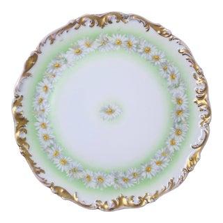 """Antique Limoges T & V France Gilded Easter Green """"Daisy Chain """" Cake Platter For Sale"""