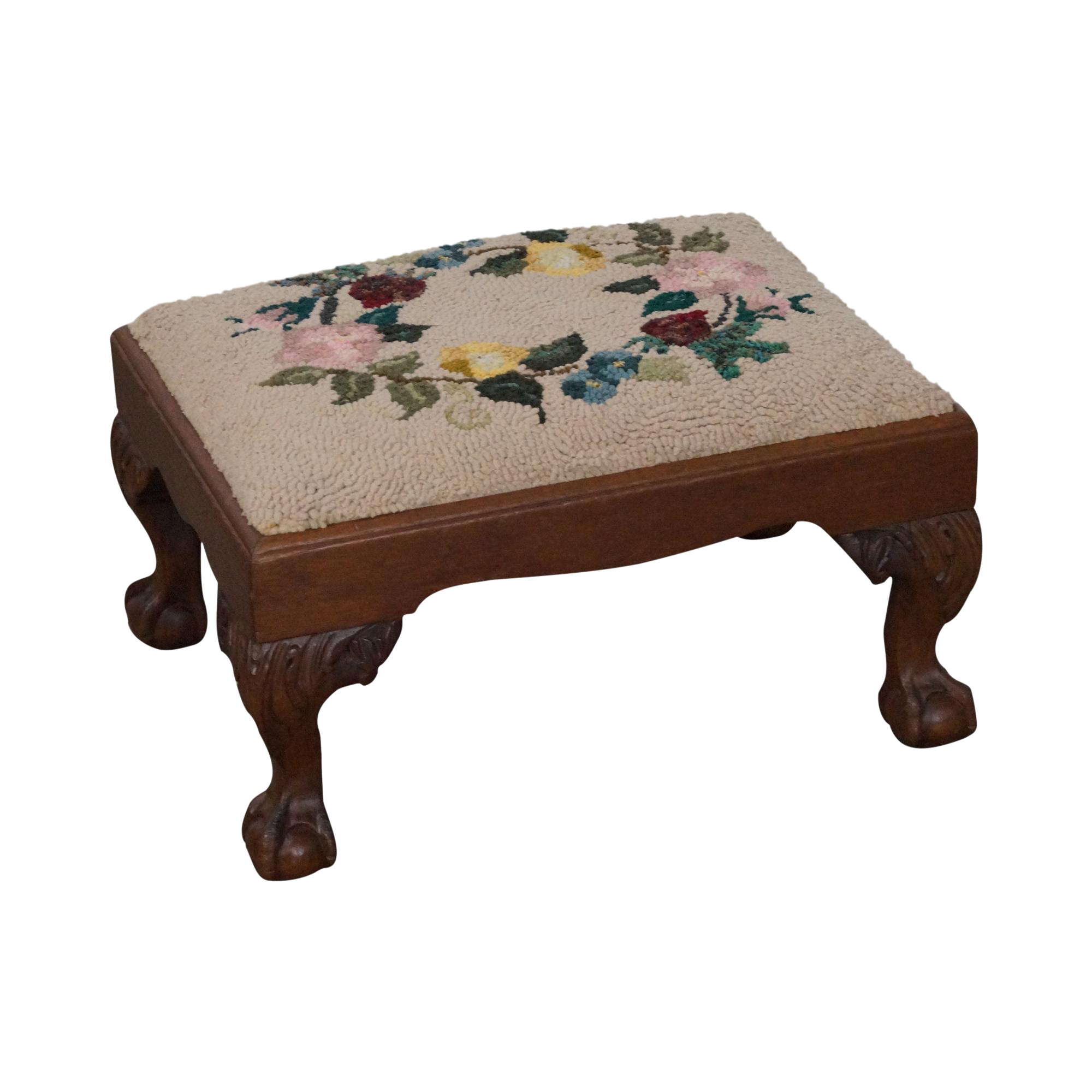 Attractive Antique Chippendale Style Mahogany Ball U0026 Claw Foot Needlepoint Footstool    Image 1 Of 10 Ideas
