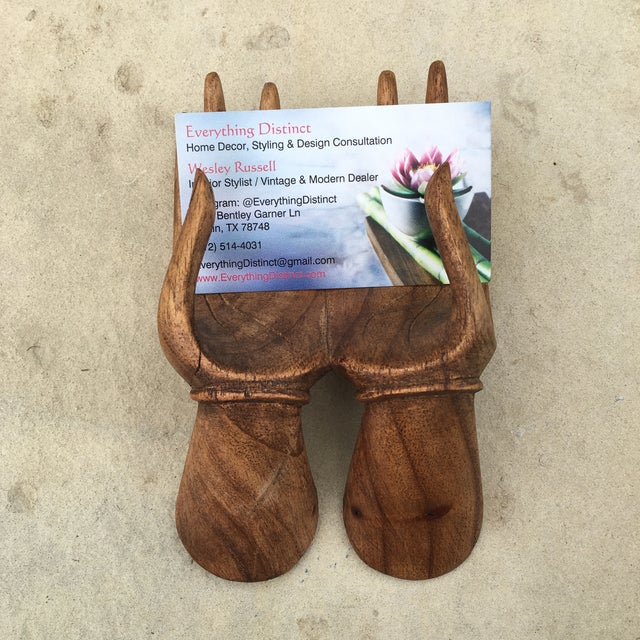 Carved Wood Hands Business Card Holder For Sale In Austin - Image 6 of 9