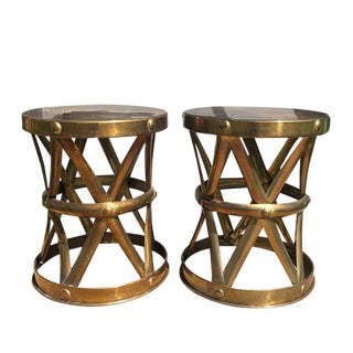 1950s Hollywood Regency Polished Gold Brass X Stools Side Tables - a Pair For Sale