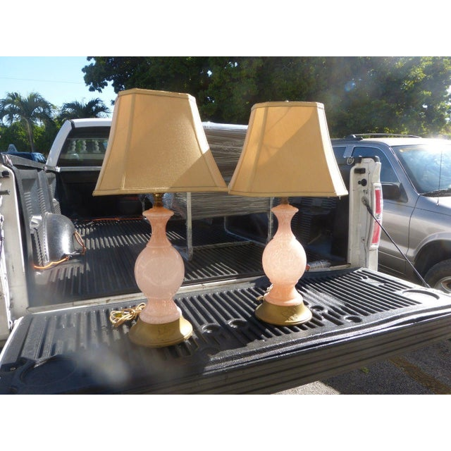 Pair of Mid Century modern pink flake murano art glass lamps sold as found in original estate bought condition. Lamps do...