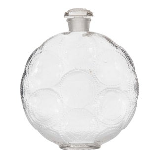 French Art Deco Disk-Shaped Glass Perfume Bottle For Sale