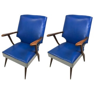 Pair of Mid-Century High-Back Lounge Chairs by Ercol For Sale