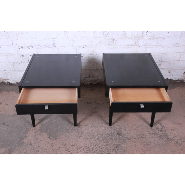 Merton Gershun for American of Martinsville Ebonized End Tables or Nightstands, Pair For Sale In South Bend - Image 6 of 13