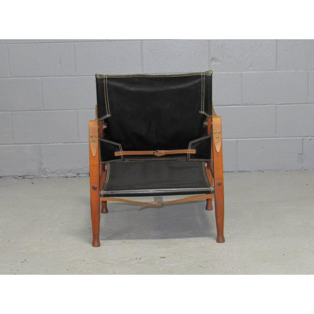 1950s Black Leather Safari Chair by Kaare Klint for Rud Rasmussen For Sale - Image 5 of 10