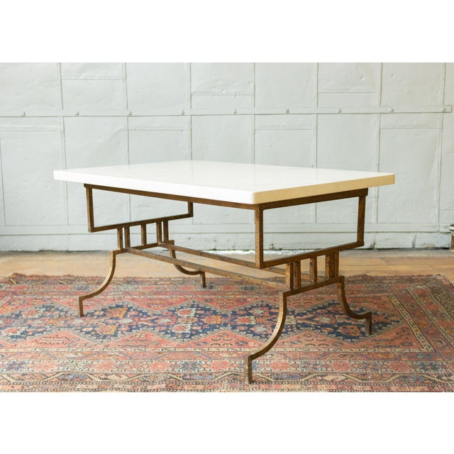 French French 1940s Gilt Iron Coffee Table With Marble Top For Sale - Image 3 of 9