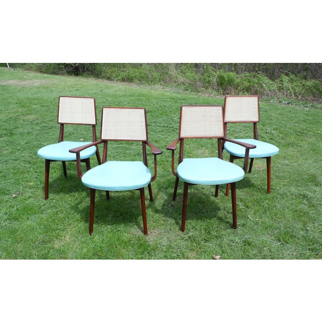 Mid-Century Modern Mid-Century Modern Walnut & Cane Dining Chairs - Set of 4 For Sale - Image 3 of 11