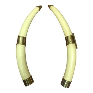 Hollywood Regency Faux Tusk Door Handles - a Pair For Sale