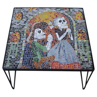 "Colorful Glass Mosaic Coffee Table in the Style of ""Dia De Muertos"" For Sale"