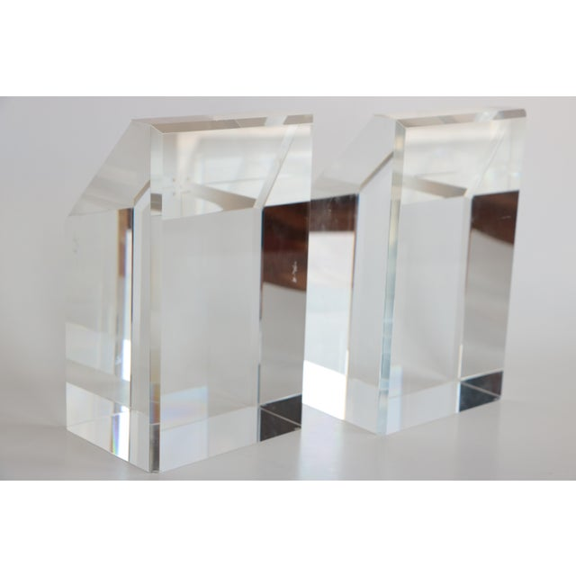 Faceted Lucite Bookends - A Pair - Image 6 of 10