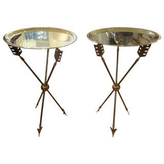 French Maison Jansen Style Brass Arrow Tables - A Pair For Sale