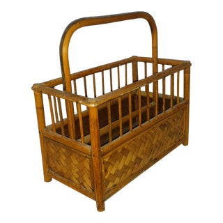 1960's Bamboo Boho Magazine Rack For Sale