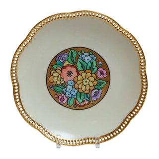Floral Porcelain Plate W/ Gold Lattice For Sale
