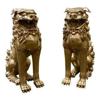 Vintage Bronze Foo Dogs - a Pair For Sale