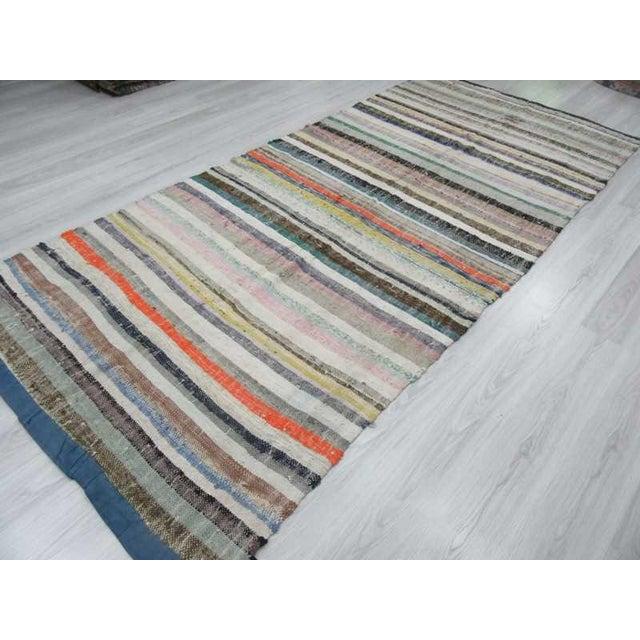 """Vintage Striped Rag Rug - 5'3"""" x 11'5"""" For Sale - Image 4 of 6"""