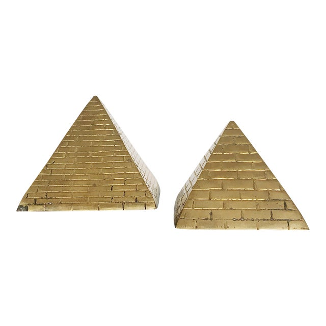 Brass Pyramid Bookends - a Pair For Sale