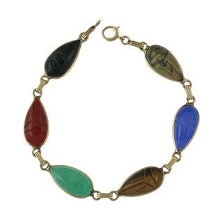 Vintage 14k Gold Carved Stone Scarab Bracelet For Sale