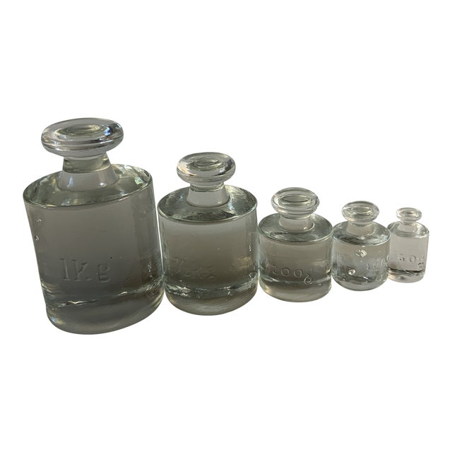 1960 Glass Calibration Counterweights - 5 Pieces For Sale