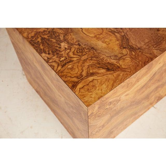 Midcentury Burled Wood Laminate Cube For Sale - Image 10 of 13