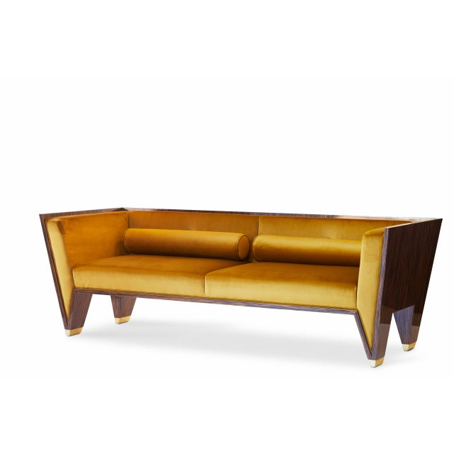 Gold Customizable Wedge Sofa For Sale - Image 8 of 9