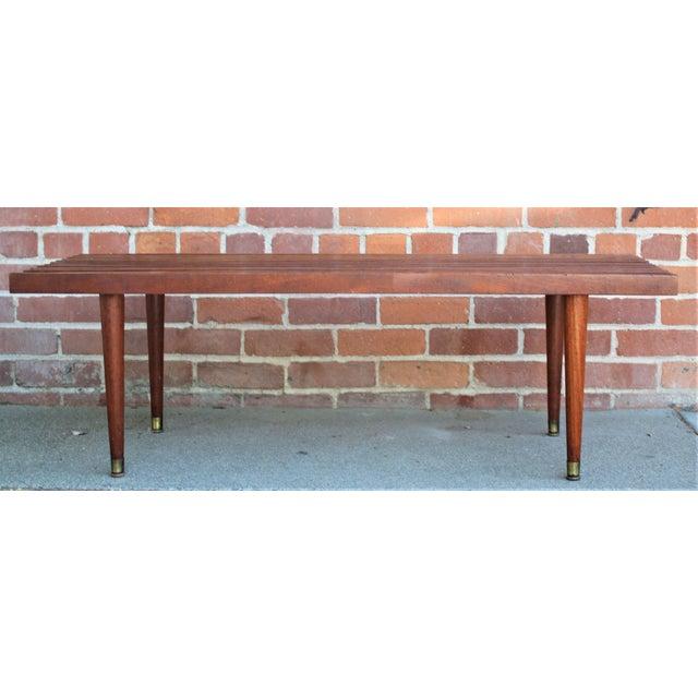 Mid-Century Modern Mid-Century Modern Walnut Slat Bench/Coffee Table For Sale - Image 3 of 11