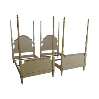 Ethan Allen Painted Twin Poster Beds - Pair