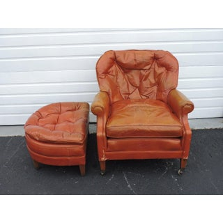 Mid Century Leather Living Room Chair With an Ottoman by Wellington Hall Preview