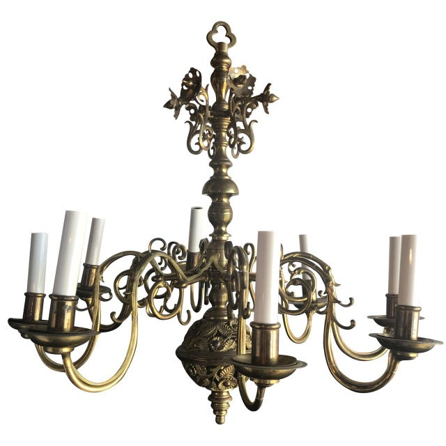 19th C. Bronze Chandelier For Sale In Tampa - Image 6 of 6
