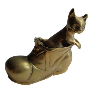 Mid-Century Brass English Cat in Boot Figurine For Sale