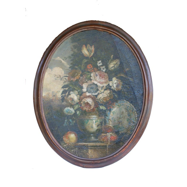 Antique Baroque Bouquet Painting In An Oval Frame Chairish
