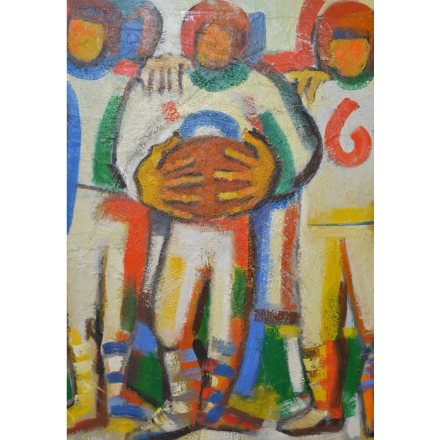 "Blue Monumental Mid Modern ""Football"" Painting by J. Beall c.1960 For Sale - Image 8 of 10"