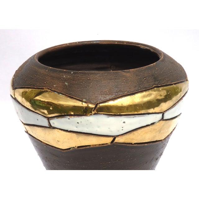 Mid-Century German Brown Pottery Vase - Image 4 of 7