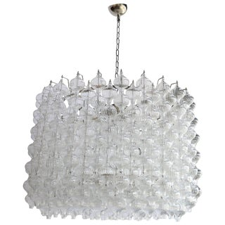 1980s Murano Glass Tulip Drum Chandelier For Sale