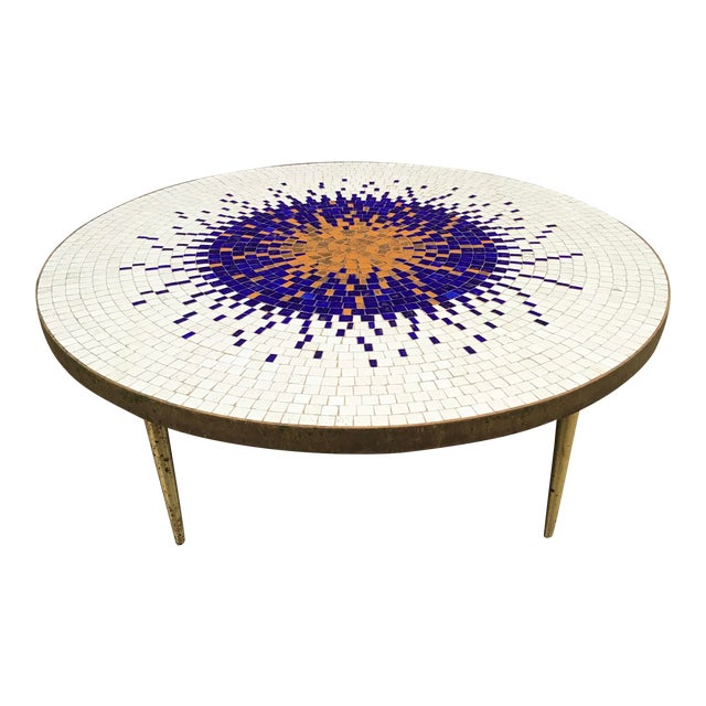 Amazing Mosaic Tile Sunburst Brass Coffee Table Luberto For Sale