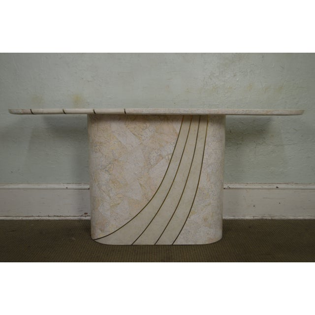 *STORE ITEM #: 17816 Maitland Smith Tessellated Stone Brass Inlaid Mid-Century Modern Style Console Table AGE / ORIGIN:...