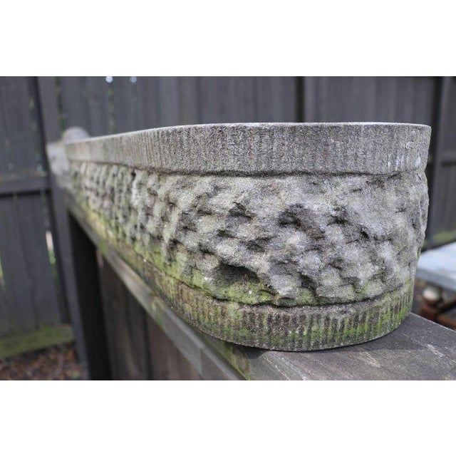Hand-carved bluestone oval planter: vintage textured bluestone, or limestone, planter from Belgium. Heavy with hand-...