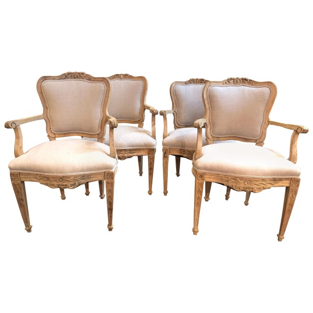 Set of 4 18th Century French Armchairs Made of Bleached Walnut For Sale - Image 10 of 10