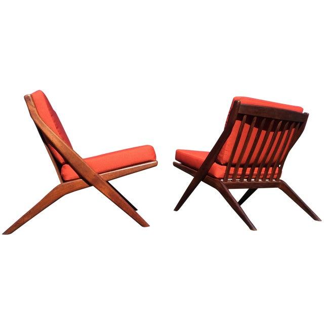 Folke Ohlsson for Dux Teak Scissor Chairs - A Pair For Sale