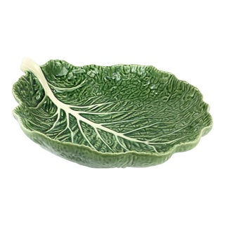 Large Majolica Cabbage Leaf Bowl For Sale