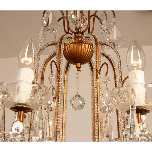 Gold 1970s Mid-Century Hollywood Regency Italian Design Crystal Beaded Chandelier For Sale - Image 8 of 13