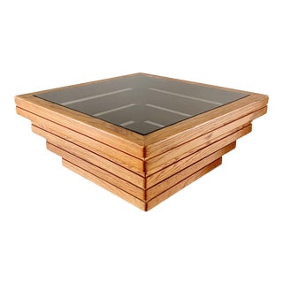 Rustic Tiered Stacked Oak & Bronze Glass Coffee Table For Sale