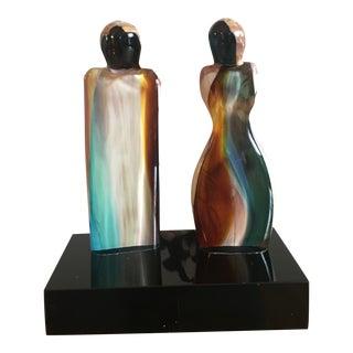 1980's Murano Calcedonio Male & Female Sculpture