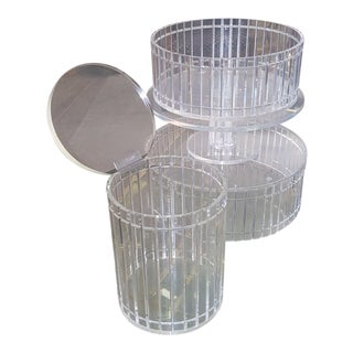 1990's Translucent Vertical Facet Cut Lucite Grainware Canister and Bowls - Lot of 3 For Sale