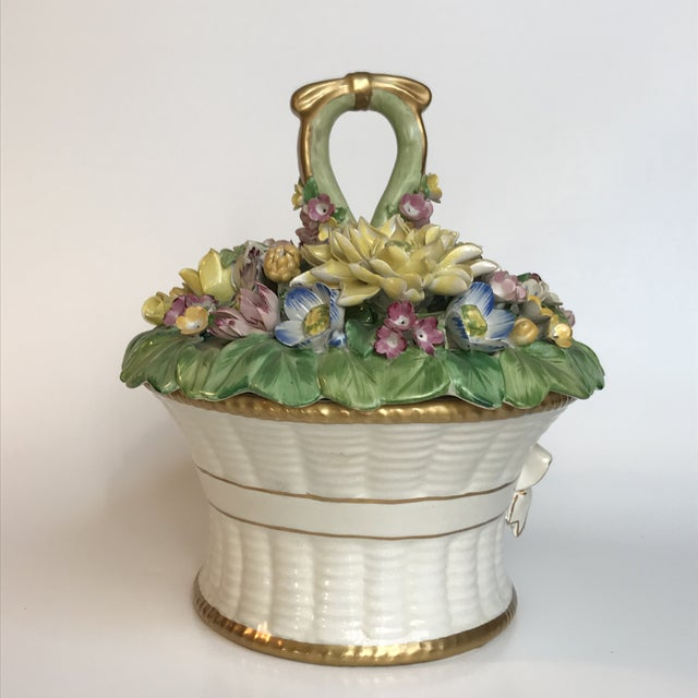 Cottage Mottahedeh Cottage Ceramic Floral Basket Lidded Centerpiece Dish For Sale - Image 3 of 13