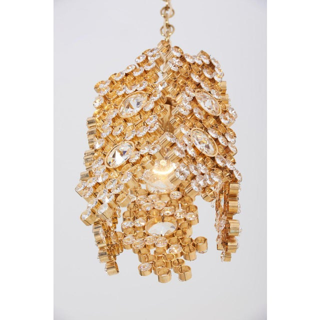 One of Three Palwa Gilded Brass and Crystal Glass Encrusted Pendant Lamps For Sale - Image 10 of 11