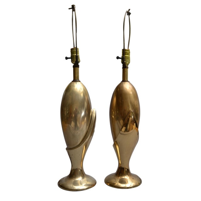 Pair of Art Deco Brass Table Lamps by Heyco For Sale